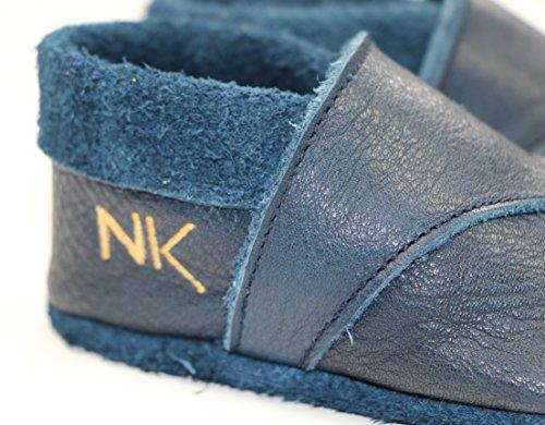 Babyschuhe, handgemacht, Anti-allergie zertifiziert, aus Oeko Leder aus Deutschland, Unifarben (21, Navy blue) Navy blue