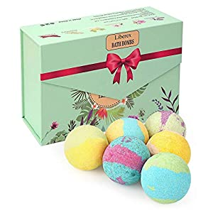 Liberex Bath Bombs Kit - Bomb Cosmetics with Organic Natural Essential Oils, Relax and moisturize Dry skin, Gift set for Mum, Women, Girls and Kids, 6 Scents x 100g