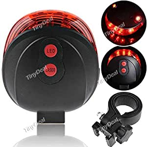 Tiny Deal Cycling Bike Bicycle 2 Laser Beam And 5 LED Rear Tail Light Safety Rear Warning Lamp FLD-167728