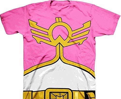 Power Rangers Mighty Morphin Megaforce Jungendliche Pink Kostüm T-Shirt (Jungendliche Large)
