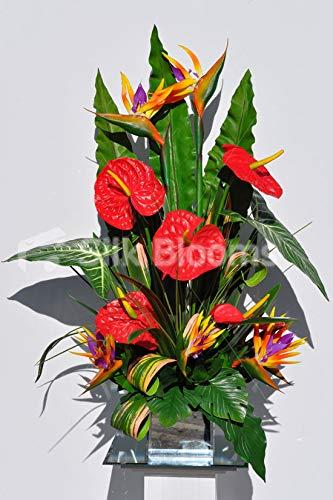 Silk Blooms Ltd Kunstblumen-Arrangement Anthurium und Paradiesvogel mit gestreiften Blättern, Rot