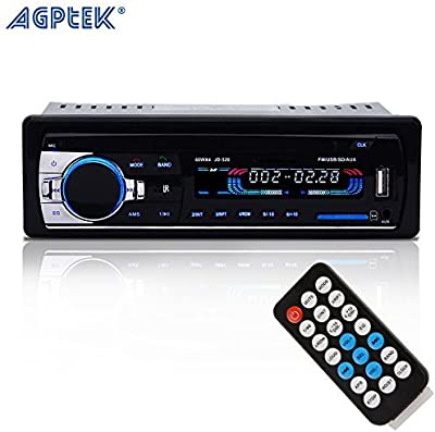AGPtek Receptor Estéreo Bluetooth de Audio con Micrófono para Coche, 12V AUX in FM Radio Adaptador Reproductor de MP3 Soportar Aux Entrada Tarjeta TF USB con Control Remoto