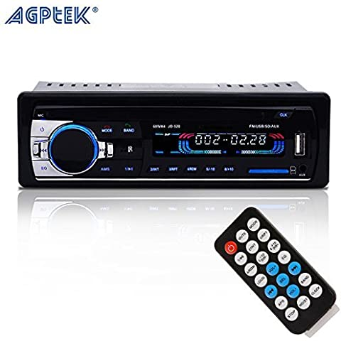 AGPtek In-Dash Car Bluetooth Audio Stereo ricevitore con Microhpne, Aux 12V a Radio FM adattatore auto MP3 Player supporto Aux in TF Card USB Car AUX Ricevitore + telecomando