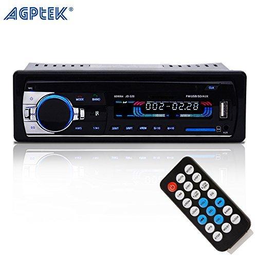 AGPTEK In-Dash KFZ Auto Stereo Bluetooth Audio Empfänger mit Mikrofo 12V Aux FM Radio Adapter KFZ MP3 Player unterstützt AUX auf TF-Karte USB + Fernbedienung