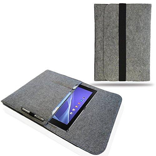 NAUC Tasche Hülle f CSL Panther Tab 10 Filz Sleeve Schutzhülle Tablet Case Cover Bag, Farben:Hell Grau