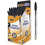 BIC Cristal Original Ballpoint Pens Medium Point (1.0 mm) - Black, Box of 50