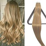 Extensions de cheveux Remy ruban adhésif en Extensions en cheveux naturels 20pièces X 4cm de large Marron clair 40cm Cheveux raides