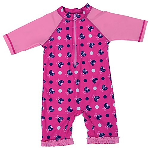 HUANQIUE Girl Bodysuit ShortSleeve Swimwear 3-10Y Sun Protection Wetsuit Cute Flower with Ziper One-Piece