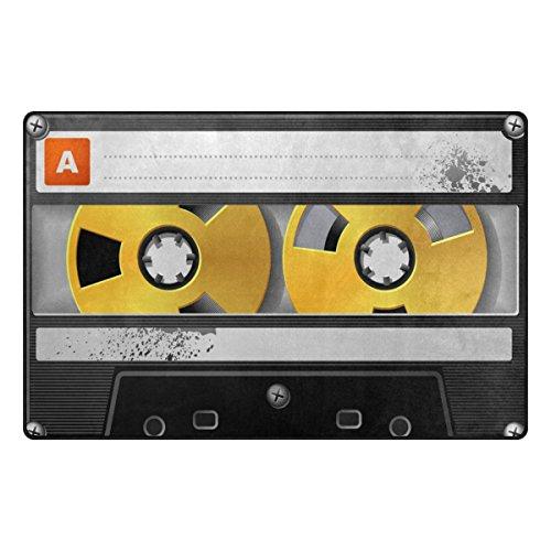 Preisvergleich Produktbild Bennigiry Retro Audio Cassette Music Bereich Teppich Teppich Rutschfeste Eintrag Bodenmatte Fußmatten für Wohnzimmer Schlafzimmer 78,7 x 50,8 cm