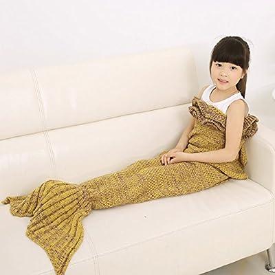 Manta de la cola de la sirena, manta de la manta de dormir de la sirena de All Seasons, AIGUMI manta del ganchillo Handcraft Sofa caliente de la sala de estar para