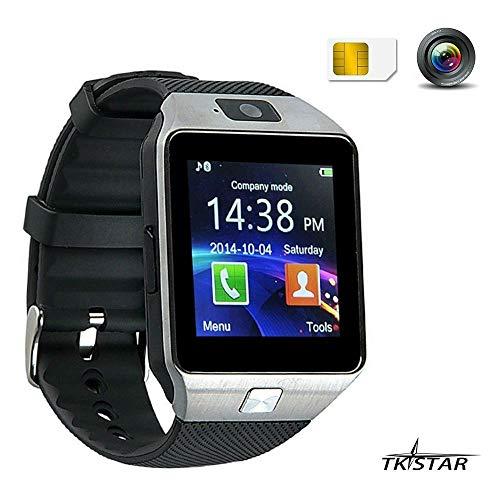 Smart Watch,Smart Uhr, Bluetooth Smartwatch, Armband-Telefon Uhr mit Schrittzähler, Touchscreen für Smartphones mit Android System DZ09 Silber (Blackberry Altes Modell)