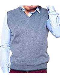 Dipuman Chaleco caballero de punto sin mangas con ribete en contraste