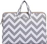 MOSISO Laptop Briefcase, Canvas Fabric Handbag Carrying Case Cover for 15-15.6 Inch MacBook Pro, Notebook Computer, Chevron Gray