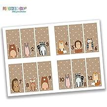 24 Adventskalender Zahlen Sticker - rechteckig - braun Nr 34 - Aufkleber zum Basteln und Dekorieren - von Papierdrachen