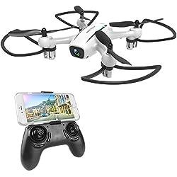 WINGLESCOUT Drone con cámara HD, 720P RC Drone Video con 120º Gran Angular y Quadcopter RTF Altitude Hold, Plan de Vuelo, Control de App, Modo Sin Cabeza y Luz LED