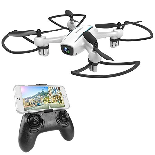 WINGLESCOUT Drone with HD camera, 720P RC Drone Video with 120º Wide Angle and Quadcopter RTF Altitude Hold, Flight Plan, App Control, Headless Mode and LED Light