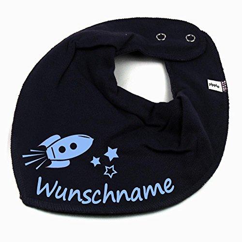 HALSTUCH Rakete mit Namen oder Text personalisiert dunkelblau für Baby oder Kind