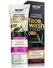 WOW Activated Charcoal infused with Activated Charcoal Beads No Parabens & Sulphate Face Wash, 100mL