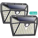 Luce Solare Led Esterno,Pxwaxpy 118 LED-2 Pezzi [ Illuminazione a cinque lati] Lampada Solare Esterno con Sensore di Movimento 270º Luci Esterno Energia Solare Impermeabile con 3 Modalità