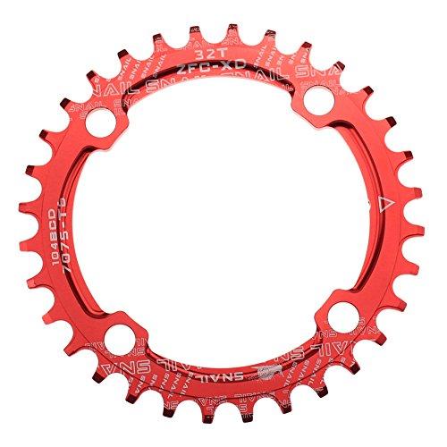 CYSKY Narrow Wide Kettenblatt 32T 104 BCD Bike Einzelkettenblatt mit 9 10 11 Geschwindigkeit für Rennrad Mountainbike BMX MTB (Rot)