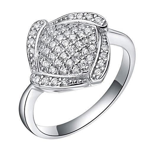 Purmy donne anello bianca placcato oro fede nuziale con bianca cubic zirconia 18k bianca placcato oro classicoal geometrico design bianca oro dimensione 12