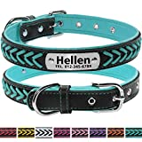 Vcalabashor Hundehalsband mit Namen und Telefonnummer,Hundehalsband Anh?nger mit Gravur,Hundehalsband Leder,M 29-38cm,T¨¹Rkis