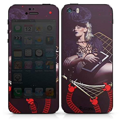 Apple iPhone SE Case Skin Sticker aus Vinyl-Folie Aufkleber Frau Champagner Roboter DesignSkins® glänzend