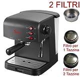 Sirge CREMAEXPRESSO-C Macchina per Caffè Espresso e Cappuccino Manuale Pompa Italiana 15 bar e Caldaia da 850 Watt [MODELLO COMPLETO DI 2 FILTRI porta caffè, per 1 o 2 tazzine di caffè]