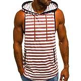 IZHH Herren Tank Top, Sommer Muskelshirt Casual Streifen Print Herren Unterhemd Mit Kapuze ÄRmelloses T-Shirt Top Weste Bluse(Rot,2XL)