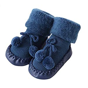 LILICAT Toddler Infant Newborn Baby Socks, Cotton Children Floor Socks Anti-Slip Baby Step Socks Christmas Warm Stockings Slipper Shoes Boots Xmas 0-2 Years old