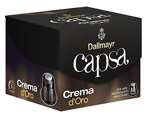 DALLMAYR CAPSA Kapseln Espresso / Lungo - Für Ihre NESPRESSO® Maschine (10 Kapseln / 14 Varianten) GESCHMACKSRICHTUNG FREI WÄHLBAR (CREMA D´ORO (Stärke 5))