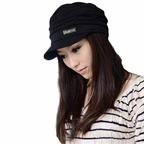 Koly Women Girls Fashion Design Drape Layers Beanie Rib Hat Brim Visor Student Hat Vintage