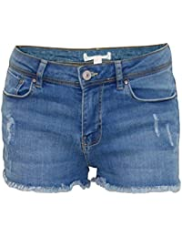 New Ladies Stretch Denim Shorts Womens Summer Frayed Jeans Hot Pants Ripped