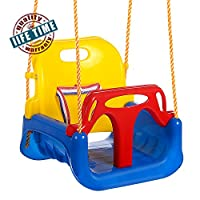 Profun 3-in-1 Baby Swing Seat Toy, High Backed Toddler Swing Detachable Outdoor Toddlers Children Hanging Seat