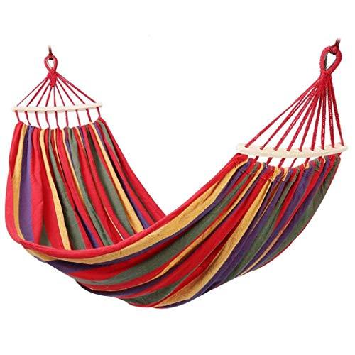 DLINMEI Voyage de Toile de Coton de 2 Personnes hamacs, lit de balançoire de Camping Portable avec hamac intérieur en Bois de Propagation de feuillus (Color : Red, Size : 200 * 150/78.74 * 59.05inc)