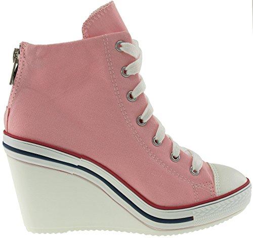 Maxstar 775 Toile arrière à fermeture Éclair et chaussures à talons Rose - rose