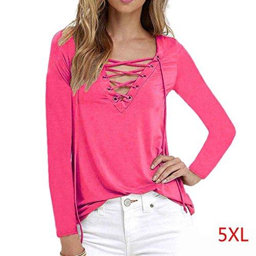 Camicetta a maniche lunghe casual da donna Camicetta con scollo a V Strap Tee Shirts Autumn Spring Minzhi Rosa
