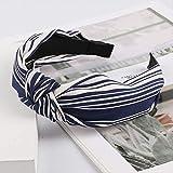 Knoten Kreuz Krawatte koreanische Mode Frauen Haarband Haarband gestrickte Rippe Mädchen Bogen Hoop Haarschmuck Velvet Twist Stirnband blau und weiß