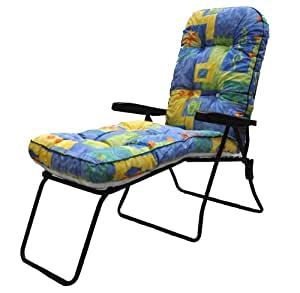 Folding Garden Patio Sun Lounger Multi Position Chair with Footrest and Blue Box Cushion