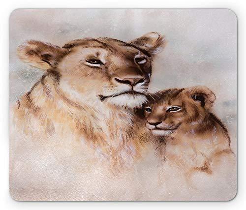 , Tiger-Mutter und Ihr Baby-Löwe   Motherly Natur-Liebe-künstlerisches goldenes Safari-Thema, Standardgrößen-Rechteck-rutschfestes Gummi Mousepad, Pfirsich-Staub ()