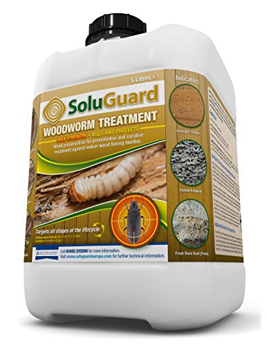 Soluguard Woodworm Treatment 5L - Ready For Use High Strength Woodworm Killer Spray