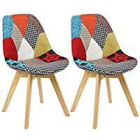 WOLTU Lorenzo Chairs Kitchen Dining Chairs Set of 2 pcs Counter Lounge Leisure Living Room Corner Chairs Multicolur Eiffel Chairs Fabric Linen Reception Chairs with Backrest Soft Cushion
