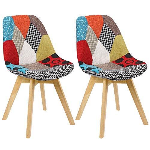 Woltu® bh29mf-2 sedia da pranzo cucina sedia da scrivania studio ufficio seggiola chairs sgabello con schienale ecopelle legno di faggio moderno comodo patchwork 2 pezzi