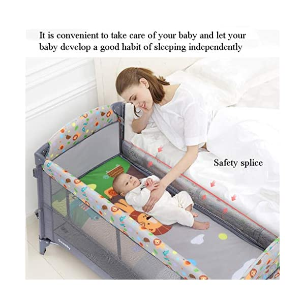 Travel Crib Cots Baby Nest Pod Bassinet Multifunctional Crib Travel Cots for Baby Sleeptight Portable Folding Carry with Mattress, Diaper Table, Mosquito Net, Toy Stand Grey and Blue (Color : A) OZYN Travel cots 【2-IN-1 BABY TRAVEL COT】There are two layers on this baby travel bed, the top layer is suitable for feeding and resting, and the bottom layer is ideal for crawling or learning to walk. You can use our infant cot in various kinds of places according to your different needs. 【MATERIAL】High quality oxford material, soft and comfortable, free of paint formaldehyde, wear-resistant, dirt-resistant, durable, preferably coir mattress, care for your baby's body and healthy growth 【SAFE CONSTRUCTION FOR BABY】You can find that the rail of this baby travel bed is high, and this design is better to ensure the safety of kids while playing. You are able to keep a close eye on your child all the time and do not need to stand up as you can focus on them by mesh side. 4