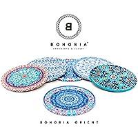 Bohoria® Premium Design Posavasos Conjunto de 6 piezas tazas de café con taza de té Boho Orient Soho Mandala (Orient)