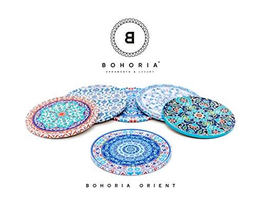 Bohoria® Premium Design Untersetzer 6er Set Kaffee Tee Glas Tasse Boho Orient Soho Mandala (Orient)