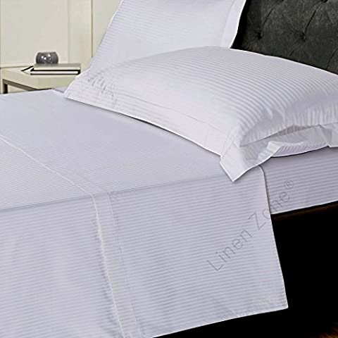 Classic Stripe 1000 Thread Count Pure Egyptian Cotton Satin Classical And Tradditonal Bedding (Single Flat Sheet, White)