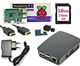 Raspberry Pi 3 B3 Kit de démarrage complet pour débutants pi B3 Quadcore, Org. Case Noir UK Version