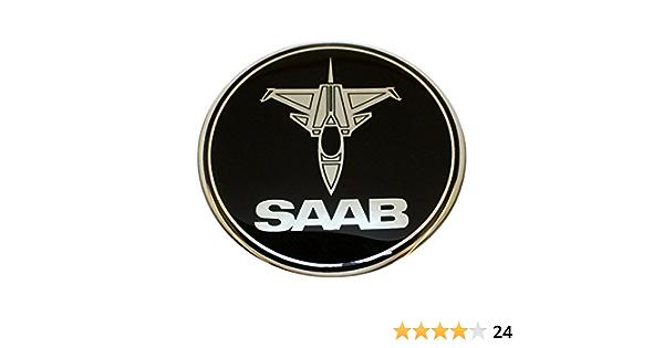 63 5 Mm Jet Flugzeug Sab Schwarz Chrom Motorhaube Haube Kofferraum Luke Abzeichen Emblem Gewölbte 3d Aufkleber Selbstklebende Rückseite 9 3 Auto
