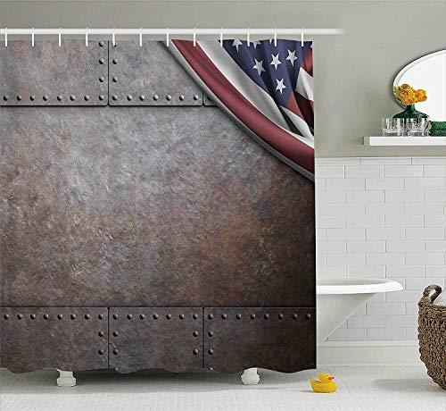 XIAOYI American Shower Curtain, USA Flag Over Rusty Textured Armor Plaque Military National Defense Designed Print, Fabric Bathroom Decor Set with Hooks, 60x72 Inches, Brown - Nickel Oval Plaque